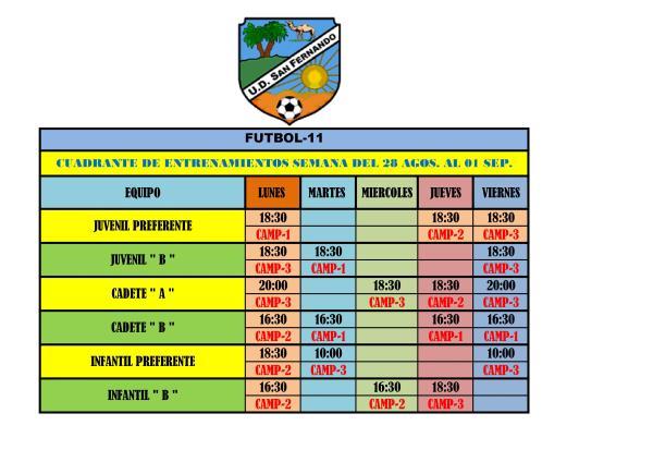 CUADRANTE ENTRENAMIENTOS DESDE EL 28/08  AL 01/09/2017