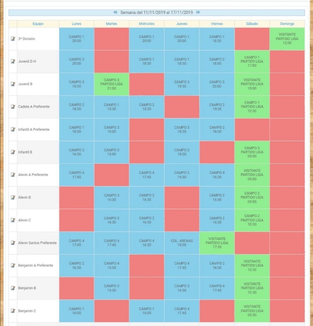 Cuadrante de entrenamiento semana del 11 al 15 de noviembre