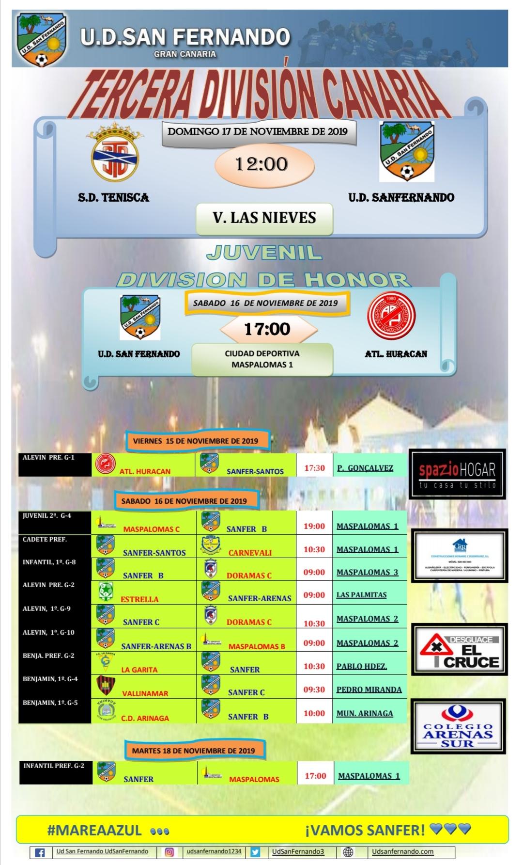 PARTIDOS PRÓXIMA JORNADA 16-11-19  HASTA 18-11-19