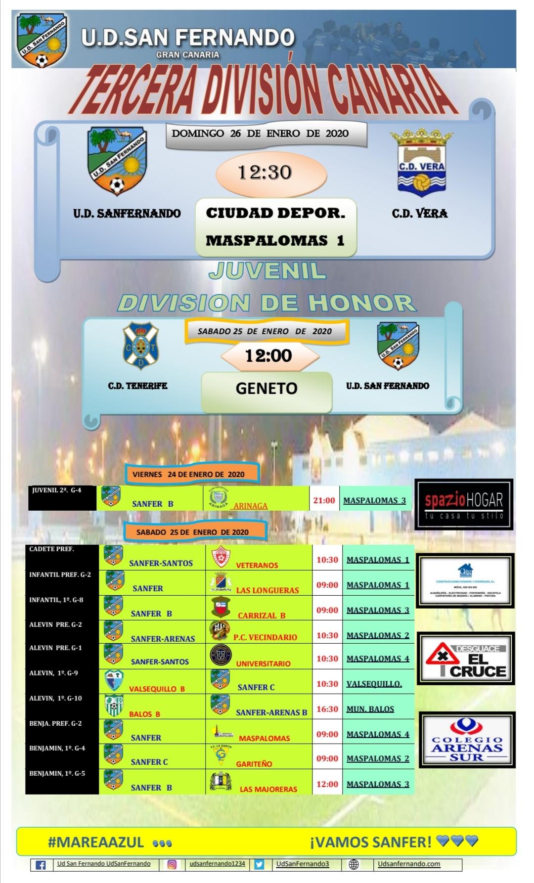 PARTIDOS PRÓXIMA JORNADA 24-01  HASTA 26-01-2020
