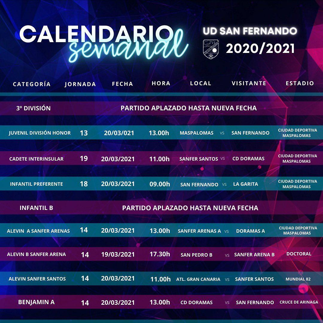PARTIDOS DE LAS PROXIMAS JORNADAS 20/03/2021
