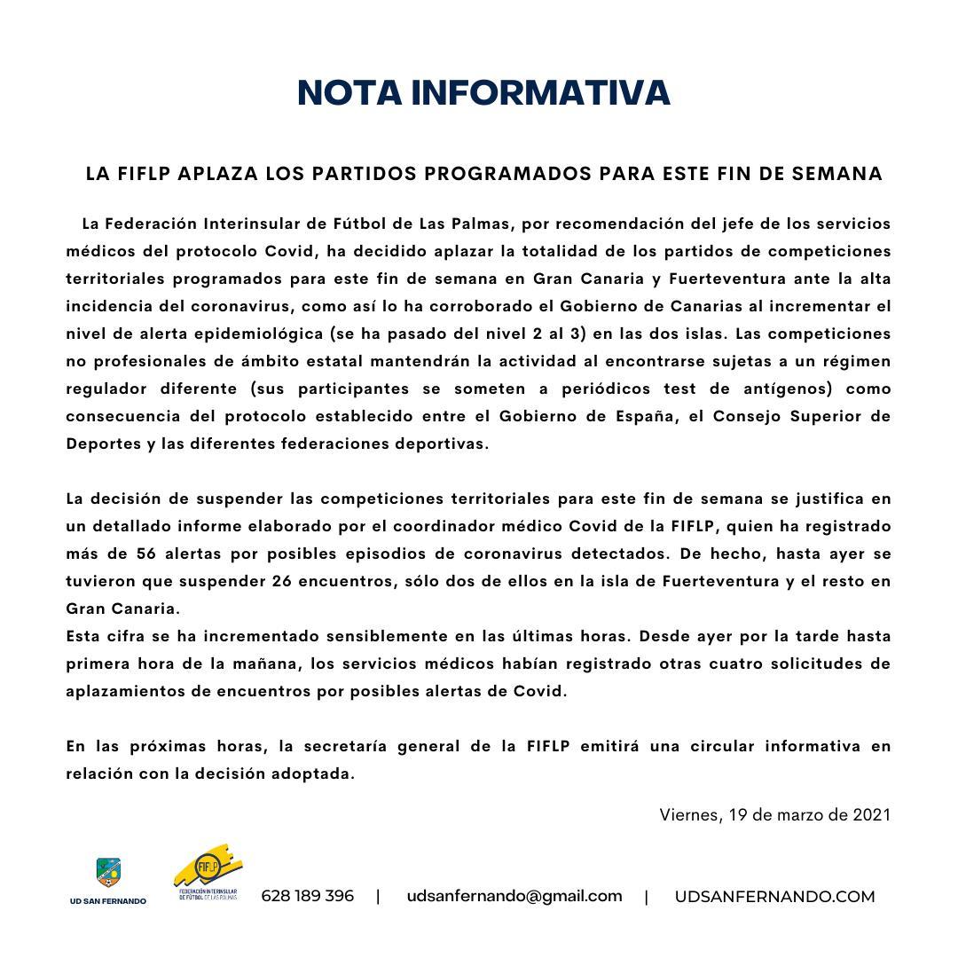 JORNADA APLAZADA POR LA FIFLP