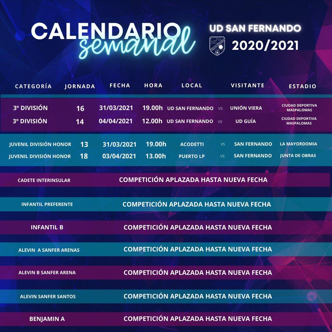 PARTIDOS DE LA SEMANA 29-03-21  HASTA