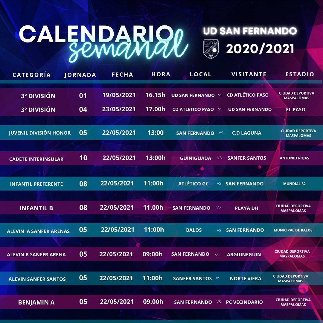 PARTIDOS DE LA PROXIMA JORNADA 22/05/2021