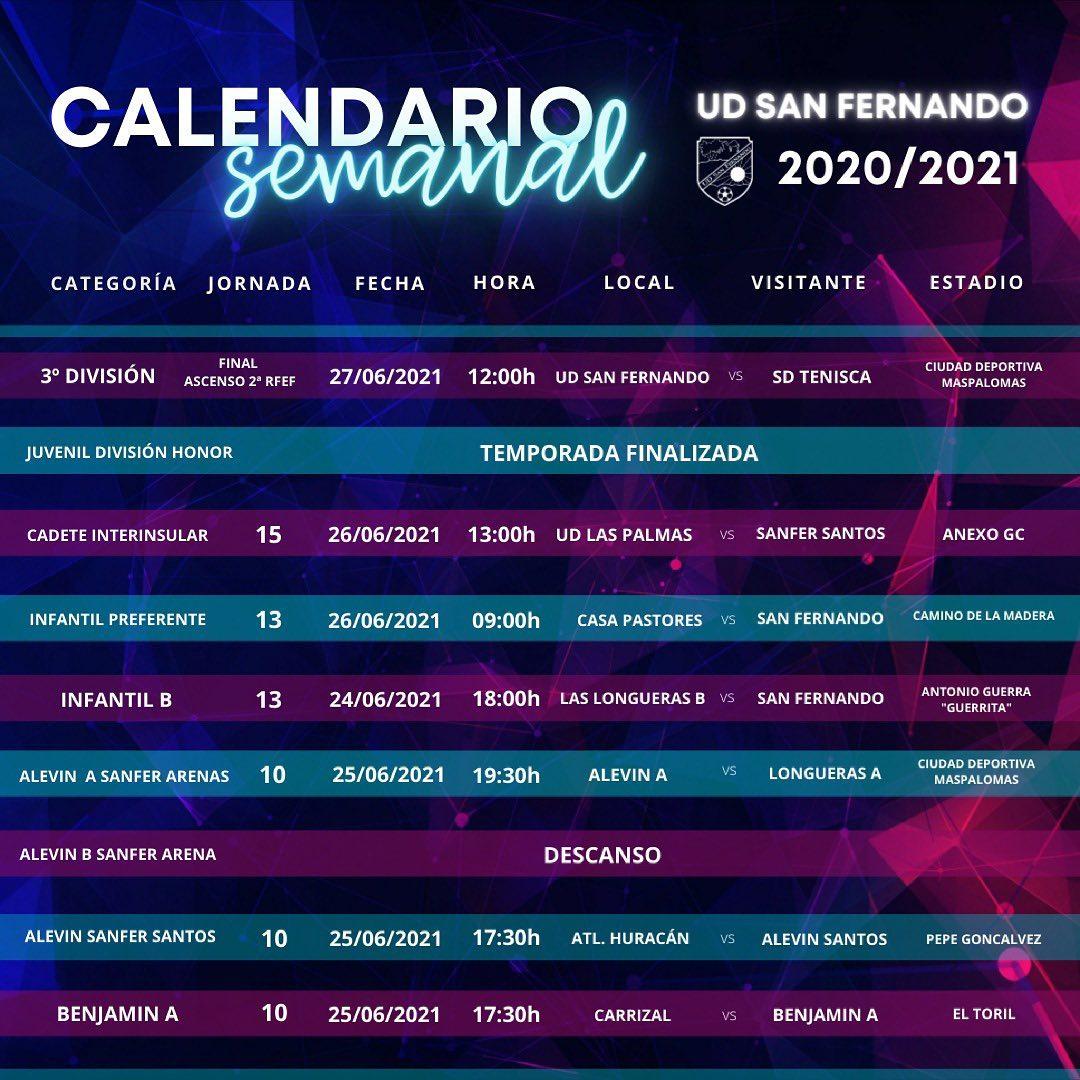 PARTIDOS DE LA PROXIMA JORNADA 25/06/2021