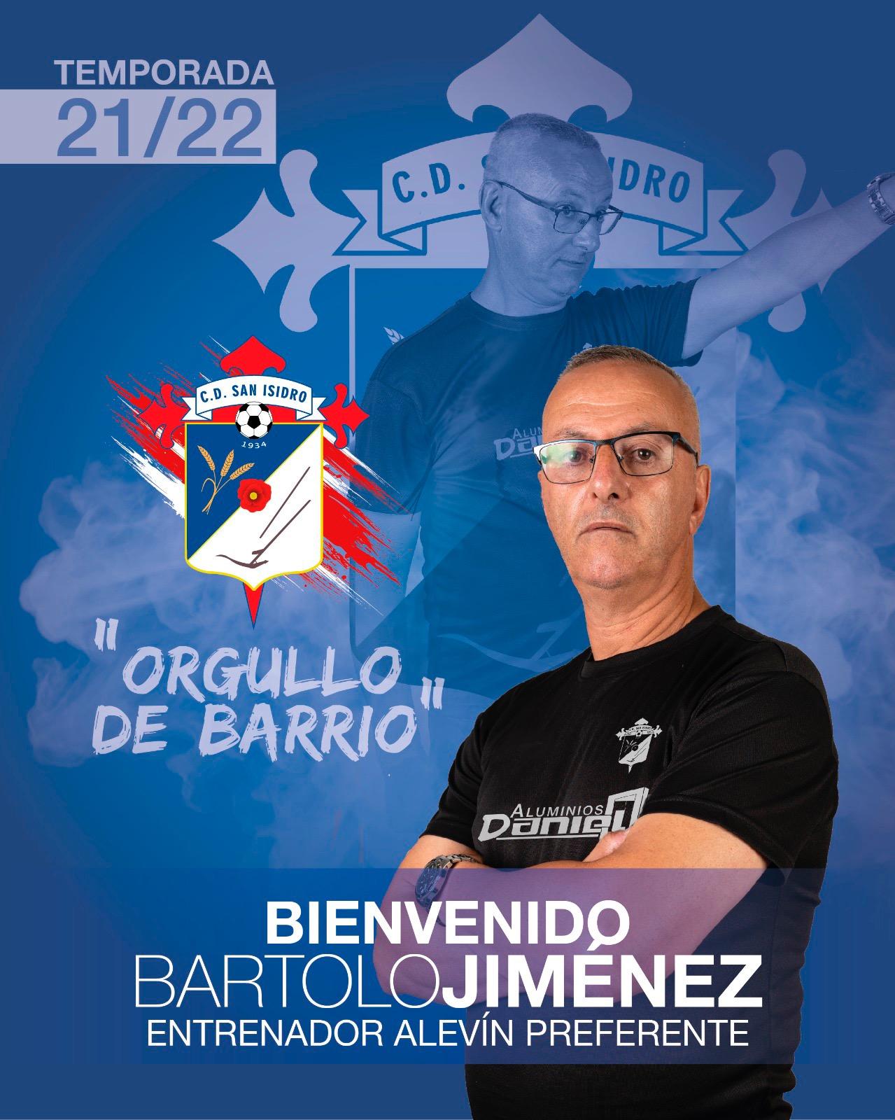 Bartolomé Jiménez, nuevo Entrenador del Alevín Preferente del C. D. San Isidro Aluminios Daniel