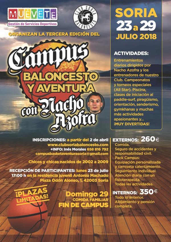 III CAMPUS DE BALONCESTO Y AVENTURA CON NACHO AZOFRA (Abiertas las inscripciones)