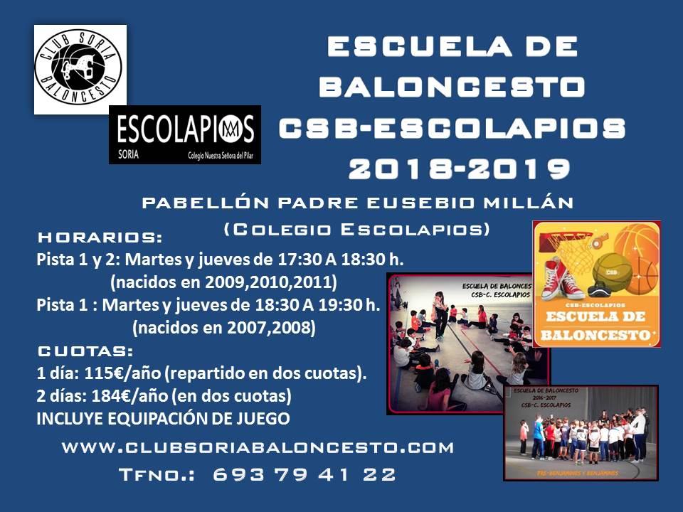 ESCUELA DE BALONCESTO CSB- C. ESCOLAPIOS