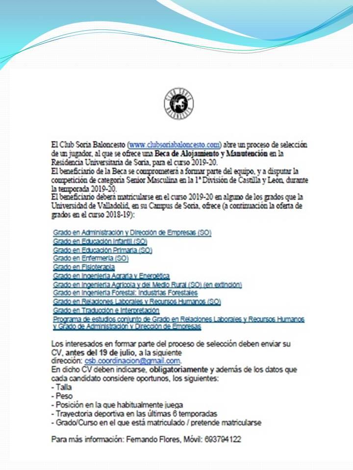 PROCESO DE SELECION DE UNA BECA PARA EL CSB CIUDAD EUROPEA DEL DEPORTE SENIOR 1º DIVISIÓN MASCULINA CYL