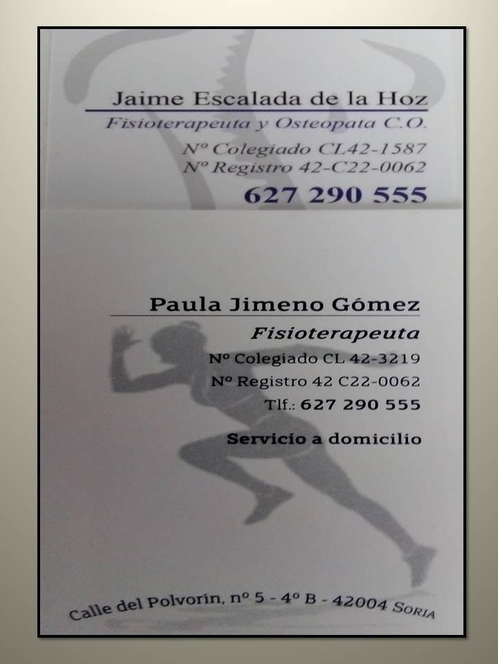 ACUERDO DE COLABORACIÓN EN FISIOTERAPIA CON JAIME ESCALADA DE LA HOZ Y PAULA JIMENO GÓMEZ