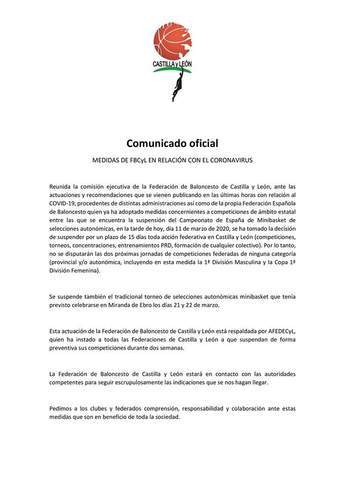 LA FBCYL SUSPENDE EL BALONCESTO DOS SEMANAS