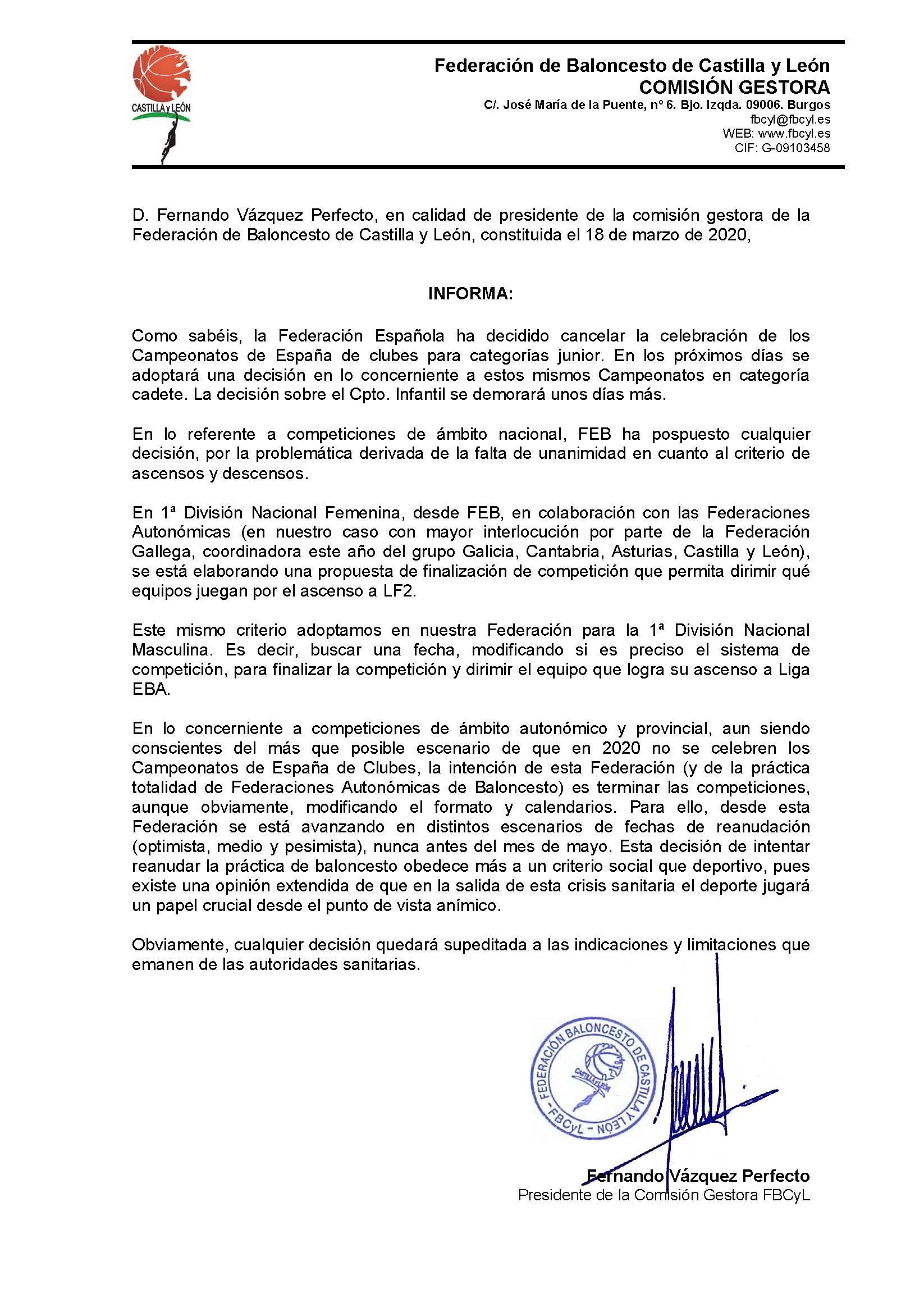 COMUNICADO DE LA FEDERACIÓN DE BALONCESTO DE CASTILLA Y LEON. EL CSB PENDIENTE DE LA FEDERACION PARA LA FINALIZACION DE LAS COMPETICIONES