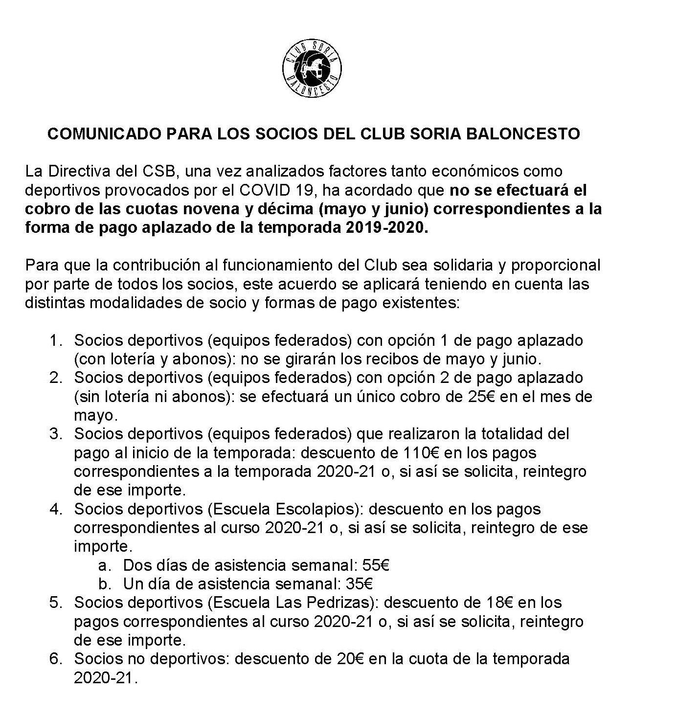 COMUNICADO PARA LOS SOCIOS DEL CLUB SORIA BALONCESTO