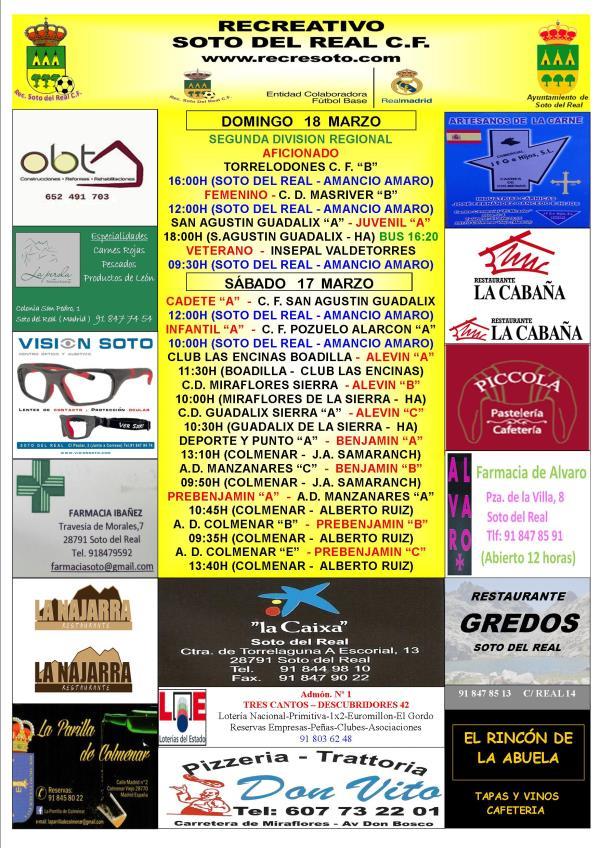 CARTEL SEMANAL 17 Y 18 MARZO 2017-2018