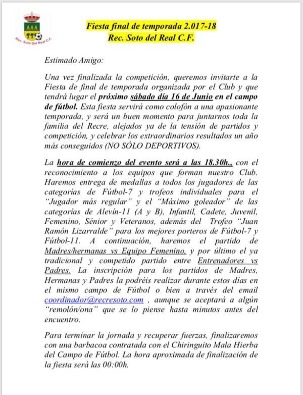 FIESTA FINAL TEMPORADA 2017-2018