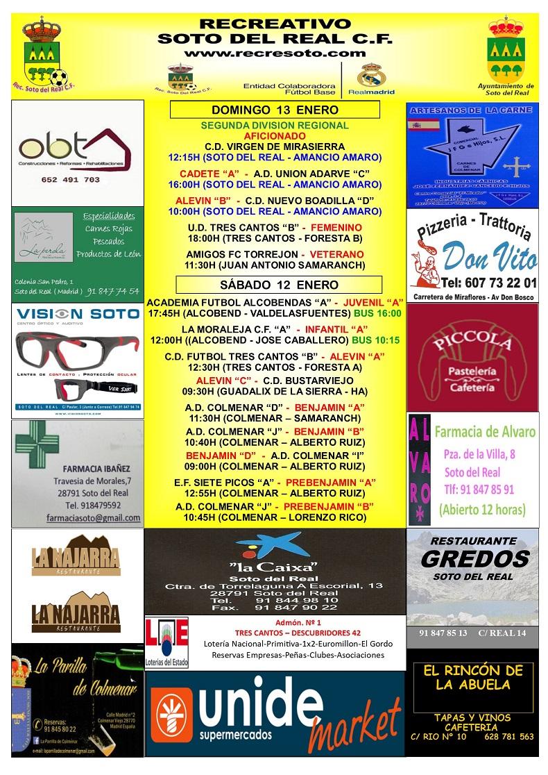CARTEL SEMANAL 12 AL 13 ENERO 2018-2019