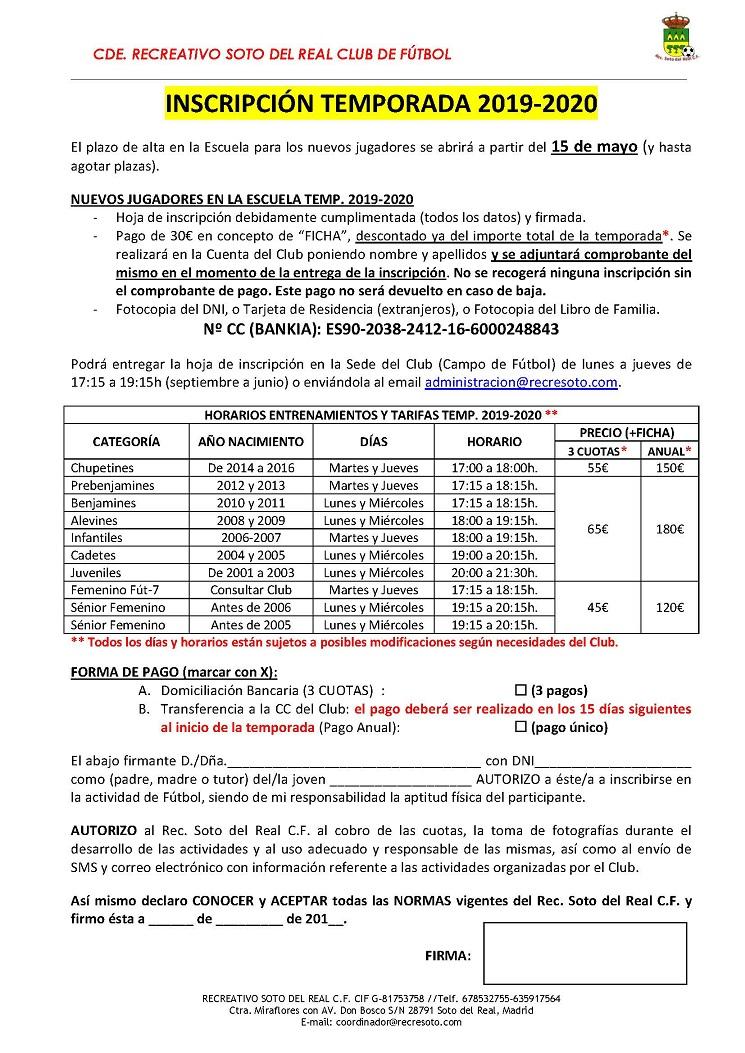 ABIERTO EL PLAZO DE INSCRIPCIÓN PARA NUEVOS JUGADORES. TEMPORADA 2019-2020