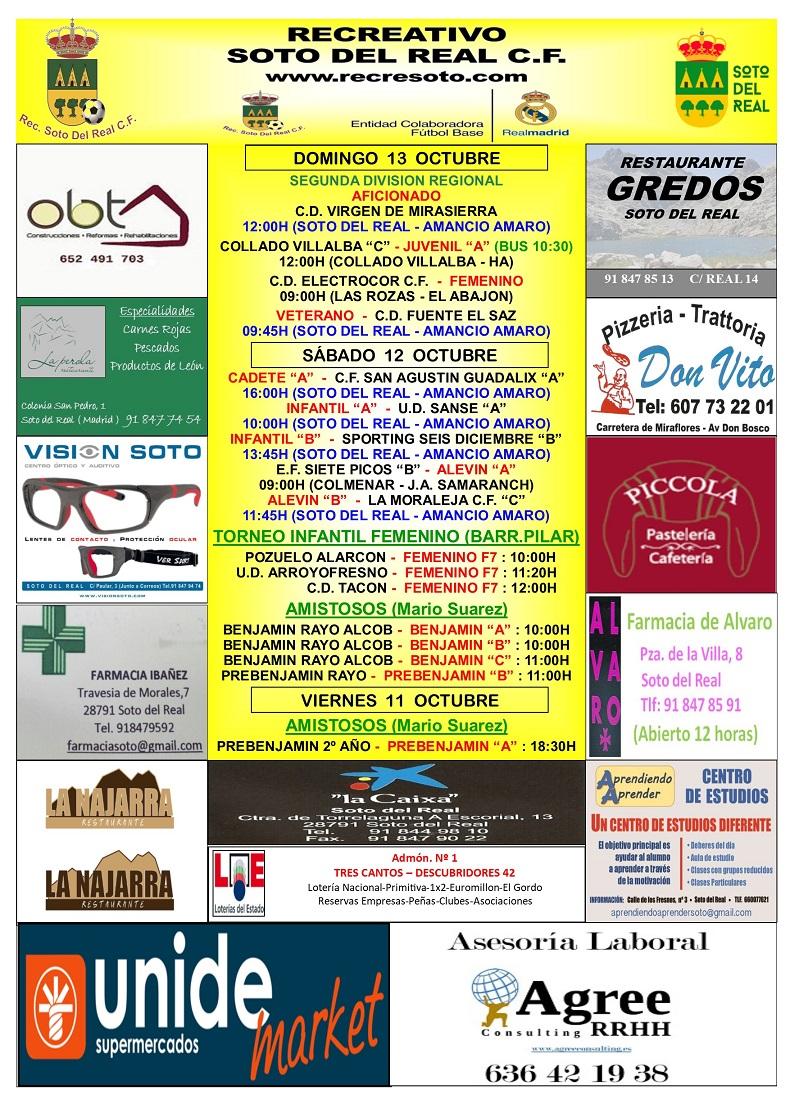CARTEL SEMANAL 11 AL 13 OCTUBRE 2019-2020