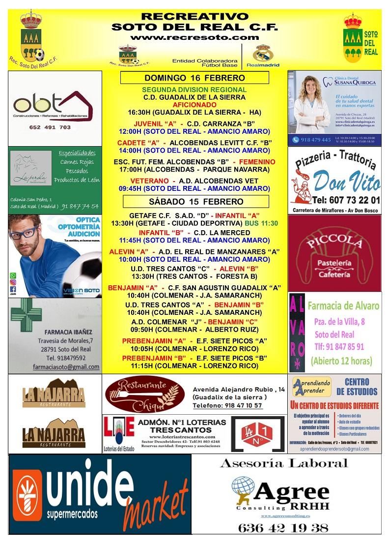 CARTEL SEMANAL 15 AL 16 FEBRERO 2019-2020