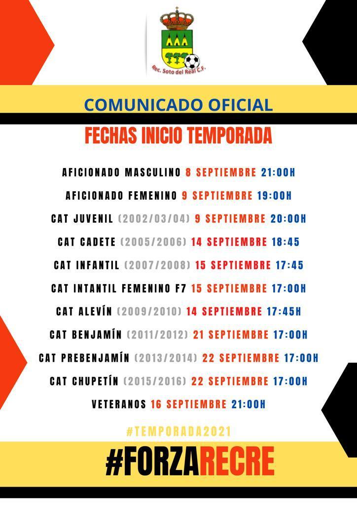 sdsFECHAS INICIO EQUIPOS TEMPORADA 2020-2021