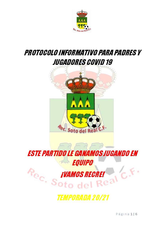 PROTOCOLO INFORMATIVO PARA PADRES Y JUGADORES COVID 19 TEMPORADA 2020/2021