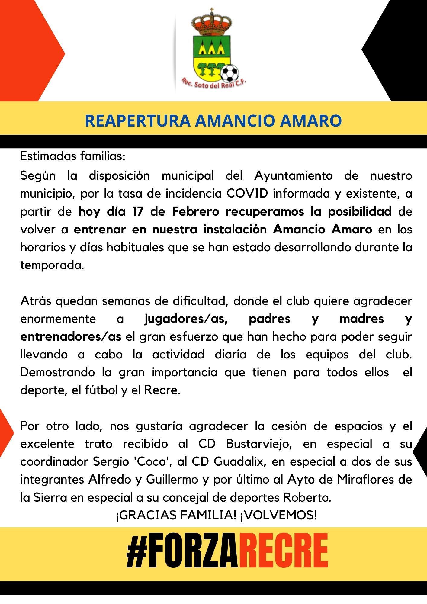 REAPERTURA AMANCIO AMARO