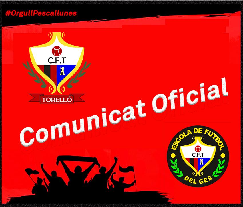 COMUNICAT A LES FAMÍLIES DEL CF. TORELLÓ