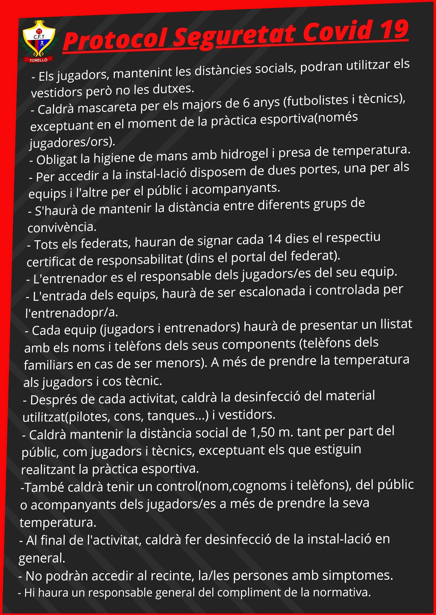 PROTOCOL DE SEGURETAT COVID19 PER L'INICI DE TEMPORADA
