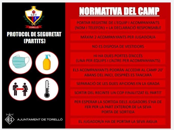 PROTOCOL DE SEGURETAT_NORMATIVA CAMP DE FUTBOL CF. TORELLÓ