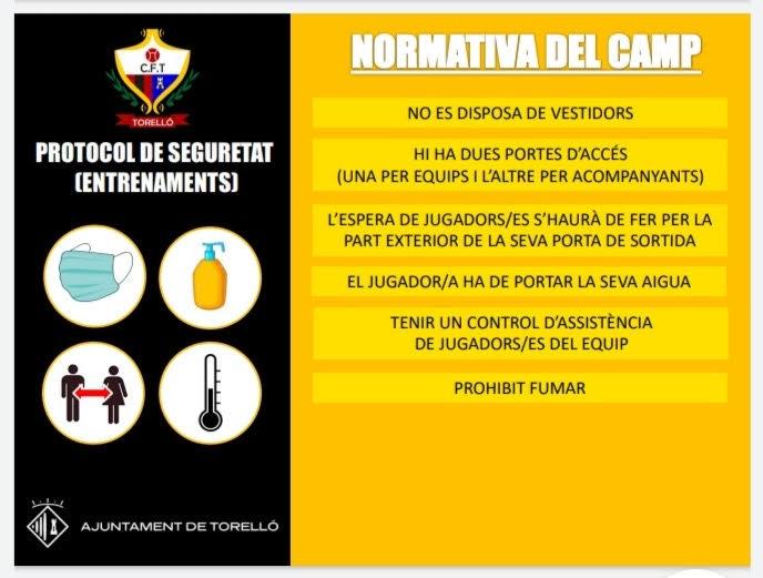 PROTOCOL DE SEGURETAT_NORMATIVA ENTRENAMENTS CF. TORELLÓ
