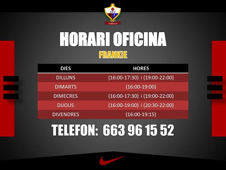HORARI OFICINA CF. TORELLÓ