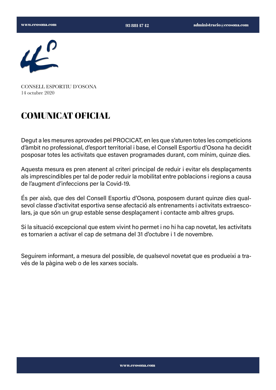 COMUNICAT OFICIAL DEL CONSELL ESPORTIU D'OSONA