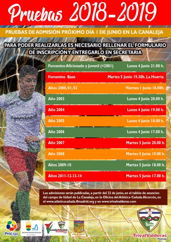 PRUEBAS DE ADMISIÓN 2018/2019