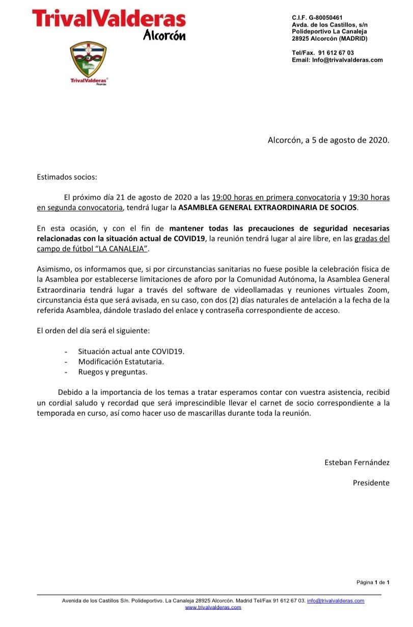ASAMBLEA GENERAL EXTRAORDINARIA DE SOCIOS