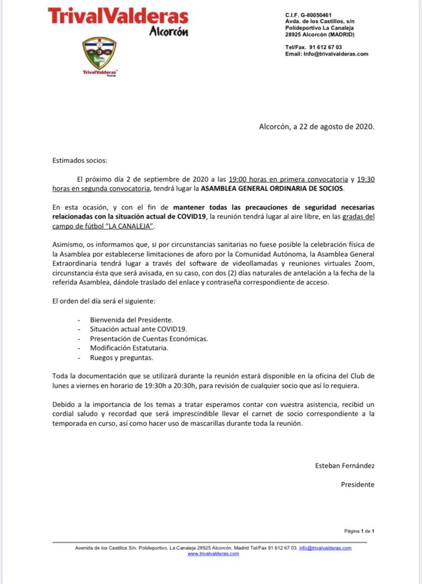 ASAMBLEA GENERAL ORDINARIA DE SOCIOS 2 SEPTIEMBRE