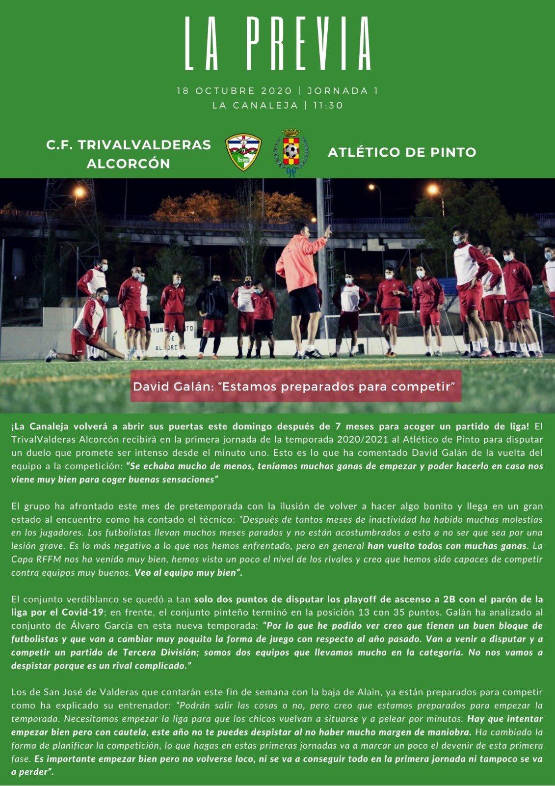 PREVIA J1 | C.F. TrivalValderas Alcorcón - Club Atlético de Pinto