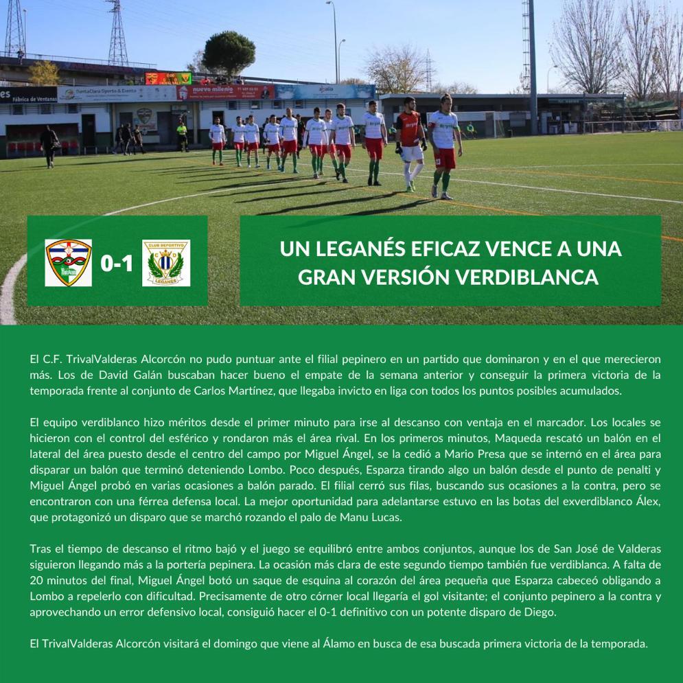 sdsCRÓNICA J6 | C.F. TrivalValderas Alcorcón - C.D. Leganés B
