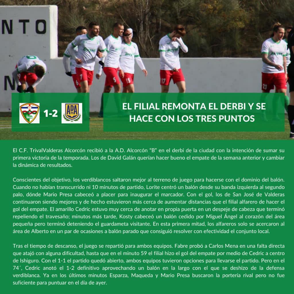 CRÓNICA J8| C.F. TrivalValderas Alcorcón - A.D. Alcorcón B