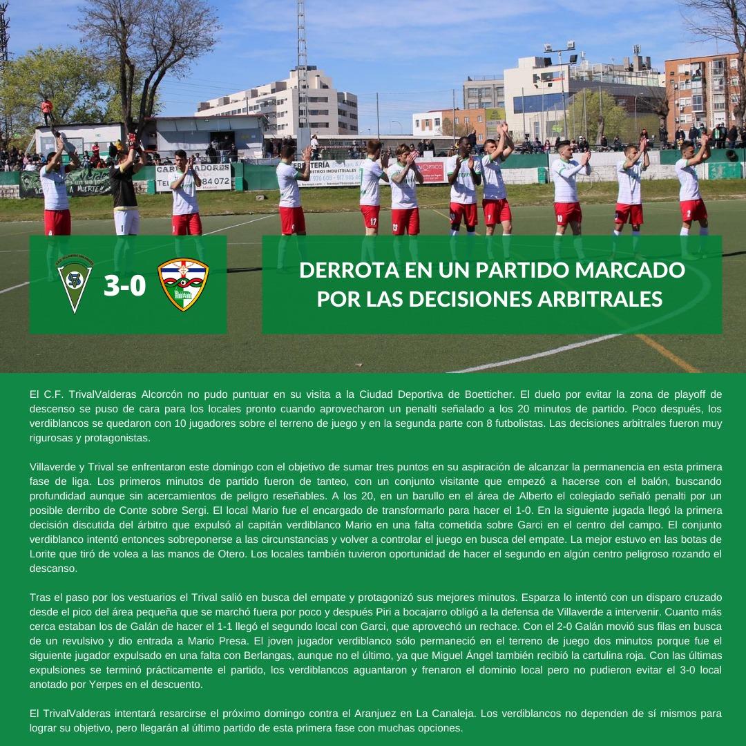 CRÓNICA J21| S.A.D. Villaverde San Andrés - C.F. TrivalValderas Alcorcón