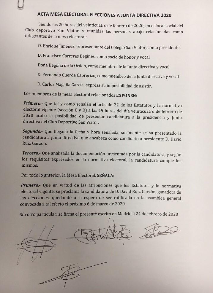 ELECCIONES A LA PRESIDENCIA DEL CLUB