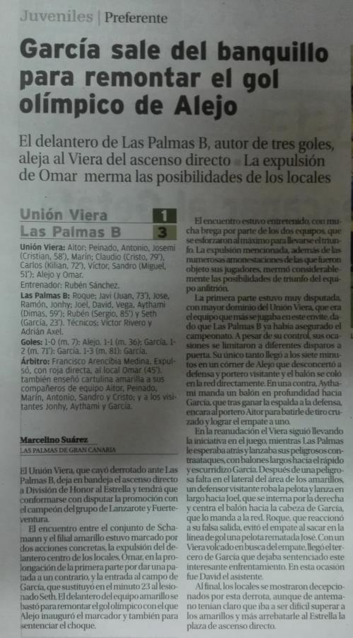 "JUV PREF - JUVENIL ""A"" - Las Palmas ""B"""