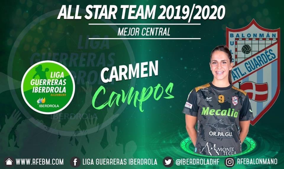 Carmen Campos mejor central Liga Guerreras Iberdrola 2019/20